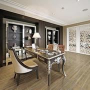 美式复古风格书房地板设计