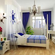 蓝白色清新卧室搭配