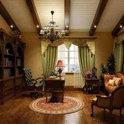 美式经典风格样板房书房装饰