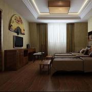 日式深色双人卧室效果图