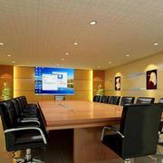 后现代风格会议室皮制桌椅装饰