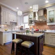 开放式美式厨房吧台效果图