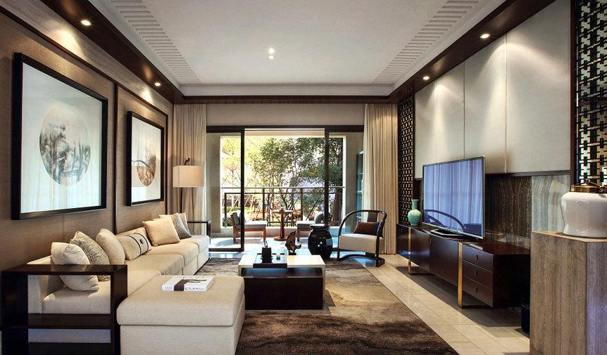 现代新中式风格130平米4居室新房装修效果图