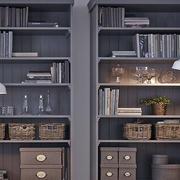 后现代风格深色系书房书柜装饰