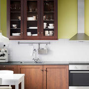美式原木厨房一字型设计