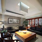 中式客厅皮制沙发设计