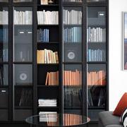 黑色书房书柜玻璃挡板装饰