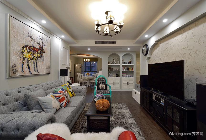 90平米自由美式地中海风格两居室婚房装修效果图