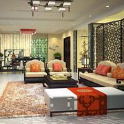 中式客厅屏风隔断装饰