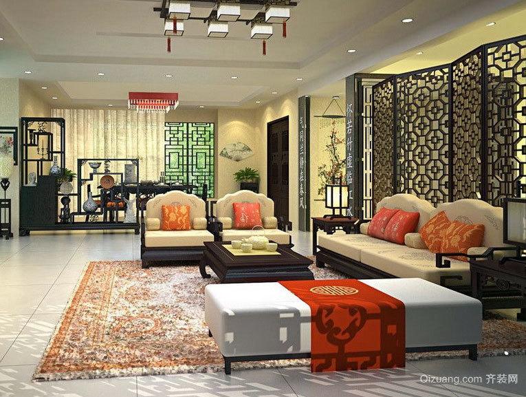 唯美精致、时尚大气的中式客厅屏风隔断效果图鉴赏
