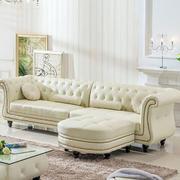 欧式简约浅色皮制沙发
