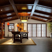 东南亚风格书房原木吊顶装饰