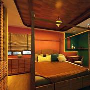 东南亚风格卧室原木吊顶设计