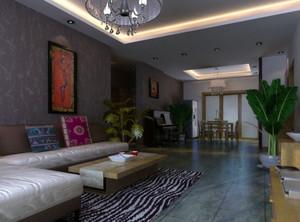 120平米简约色彩亮丽的东南亚风格客厅装修效果图