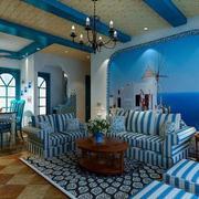 大型蓝白色客厅吊顶设计