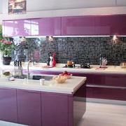 韩式紫红色整体橱柜效果图