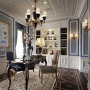 欧式奢华书房装饰效果图