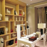 简约风格书房原木色置物架设计