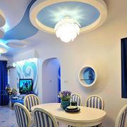蓝色系简约餐厅圆形吊顶