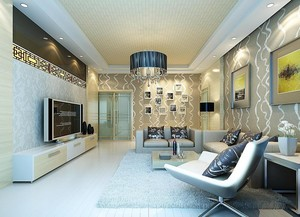 前卫简约体现品味的大户型客厅吊顶装修效果图