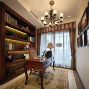 欧式原木深色书房效果图