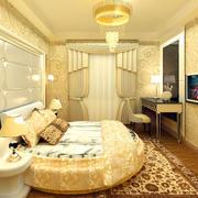 欧式卧室圆床装饰图