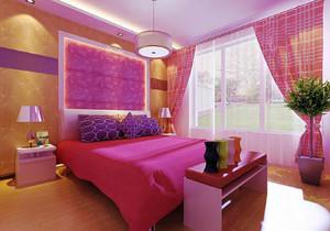 紫红色卧室设计