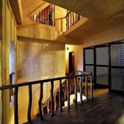 大型loft风格原木楼梯设计