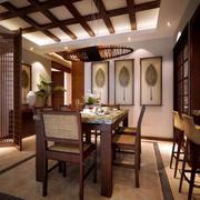 东南亚餐厅原木桌椅设计