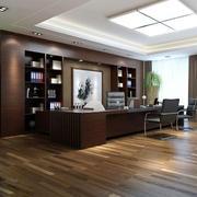 深色原木办公室背景墙设计