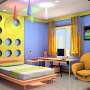 彩色梦幻儿童房效果图