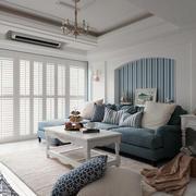 小户型浅蓝色系客厅背景墙设计