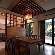 中式原木餐厅桌椅装修