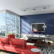 后现代简约风格纯色背景墙装饰