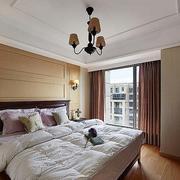 美式卧室原木床头背景墙