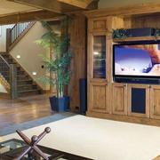 美式原木电视背景墙装饰