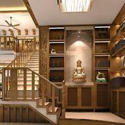 中式原木浅色楼梯效果图
