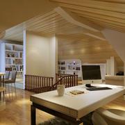 斜顶式简欧风格书房吊顶