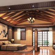 东南亚风格卧室原木吊顶
