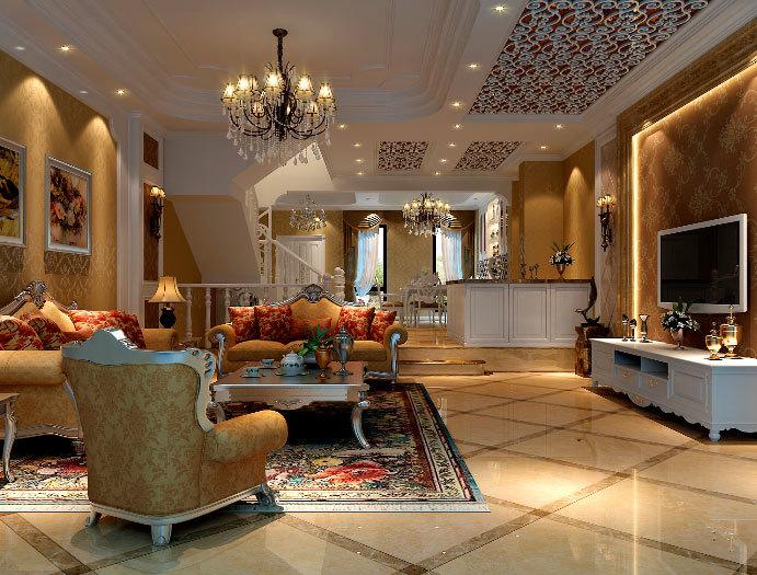 不一样的欧式设计:120平米简欧风格优雅的客厅装修图