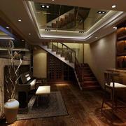 中式原木深色楼梯设计