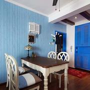 地中海风格三室一厅餐厅石膏板背景墙