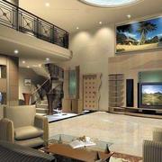 简约风格复式楼客厅皮制沙发