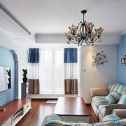 地中海风格三室一厅沙发背景墙
