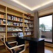 简约大型书房浅色书柜装饰