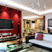 中式印花电视背景墙