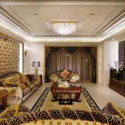 小户型欧式风格客厅沙发软包背景墙设计