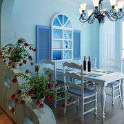 地中海风格餐厅原木桌椅效果图