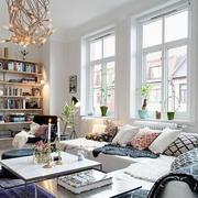 混搭风格客厅整体书柜设计