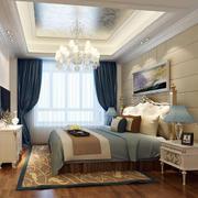 欧式风格卧室印花吊顶设计